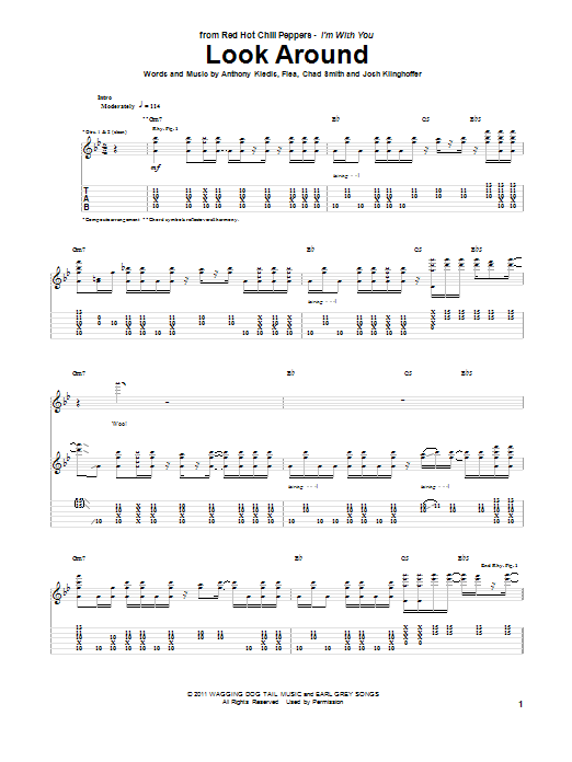 Red Hot Chili Peppers Look Around sheet music preview music notes and score for Piano, Vocal & Guitar (Right-Hand Melody) including 8 page(s)