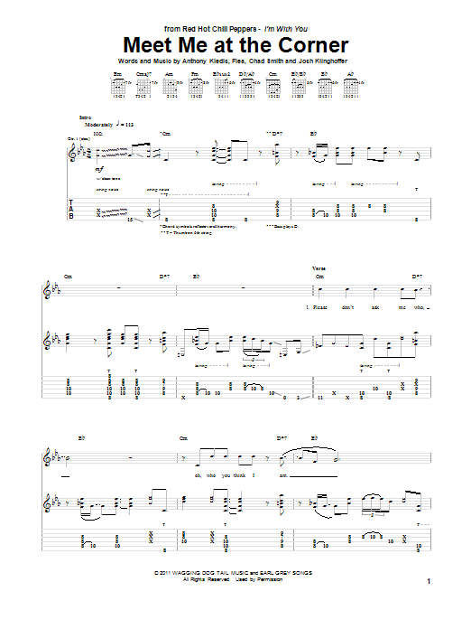 Red Hot Chili Peppers Meet Me At The Corner sheet music preview music notes and score for Piano, Vocal & Guitar (Right-Hand Melody) including 7 page(s)