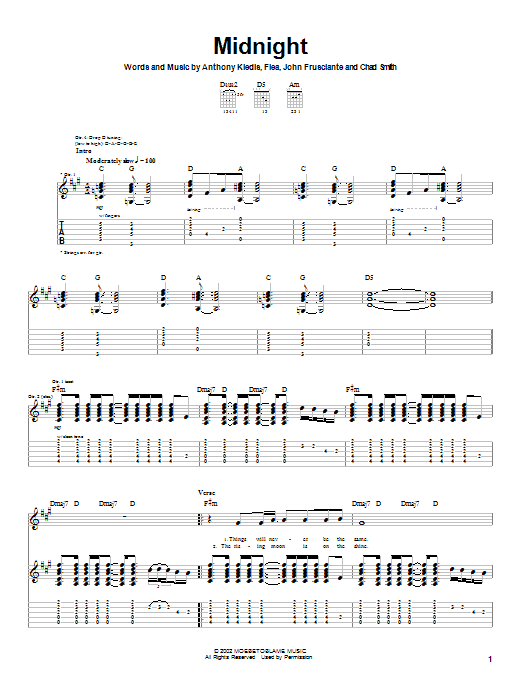 Red Hot Chili Peppers Midnight sheet music notes and chords