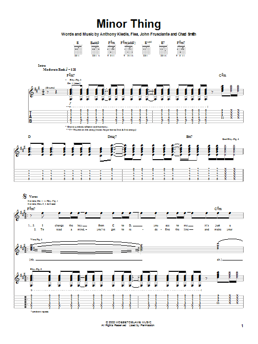 Red Hot Chili Peppers Minor Thing sheet music notes and chords