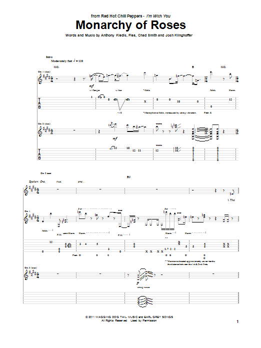 Red Hot Chili Peppers Monarchy Of Roses sheet music preview music notes and score for Guitar Tab including 14 page(s)