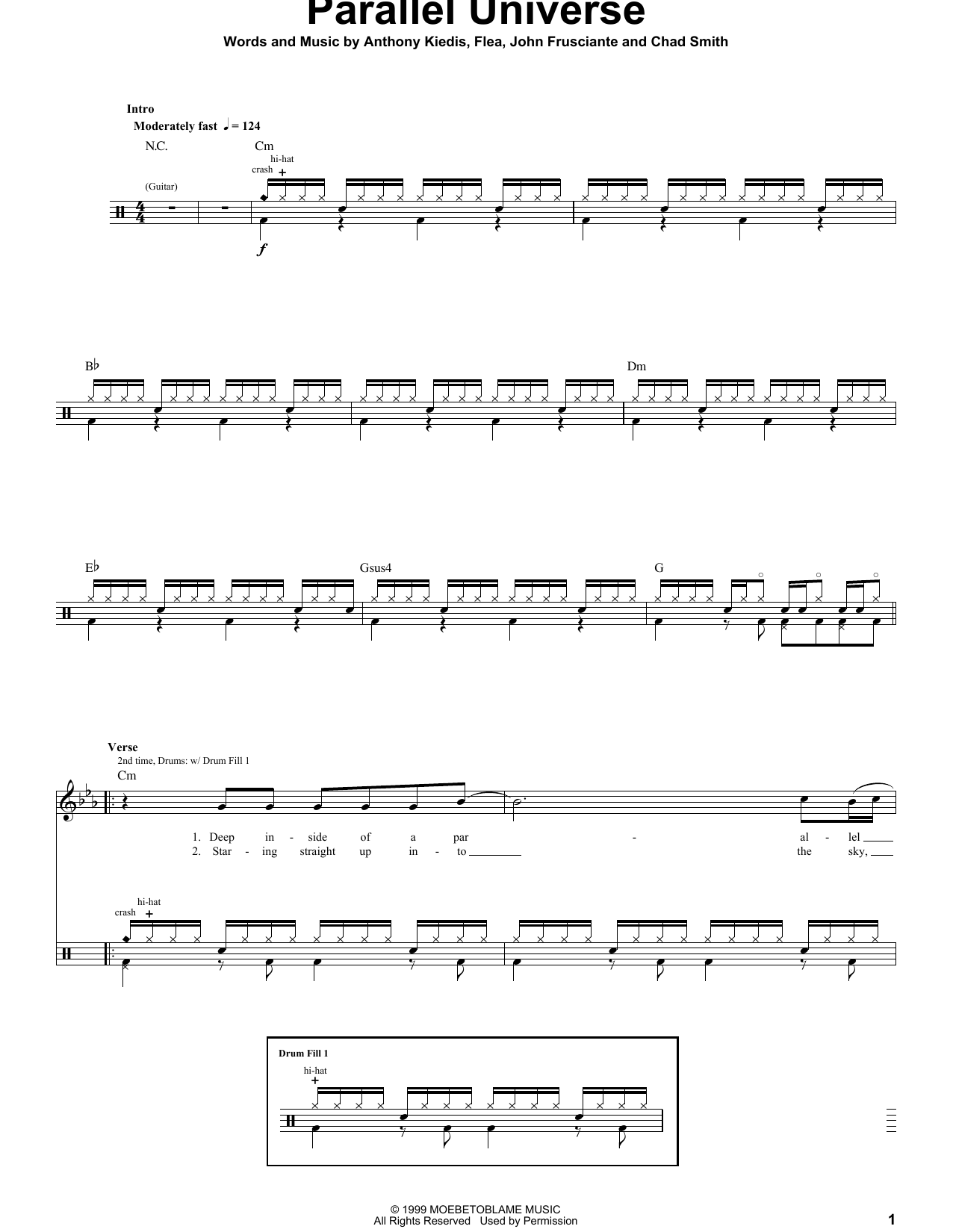 Red Hot Chili Peppers Parallel Universe sheet music preview music notes and score for Easy Guitar Tab including 4 page(s)