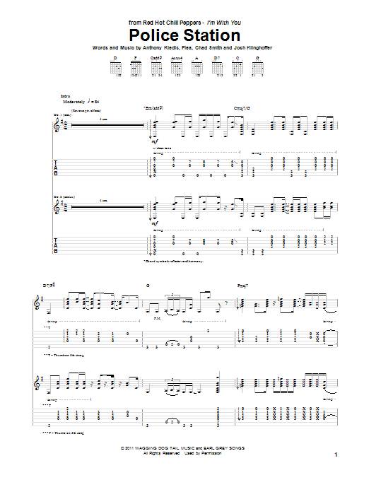 Red Hot Chili Peppers Police Station sheet music preview music notes and score for Piano, Vocal & Guitar (Right-Hand Melody) including 8 page(s)