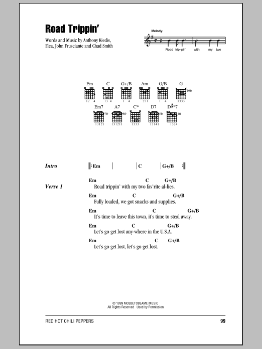 Red Hot Chili Peppers Road Trippin' sheet music preview music notes and score for Easy Guitar Tab including 5 page(s)