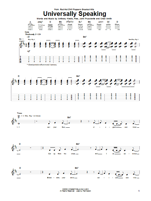 Red Hot Chili Peppers Universally Speaking sheet music preview music notes and score for Easy Guitar Tab including 5 page(s)