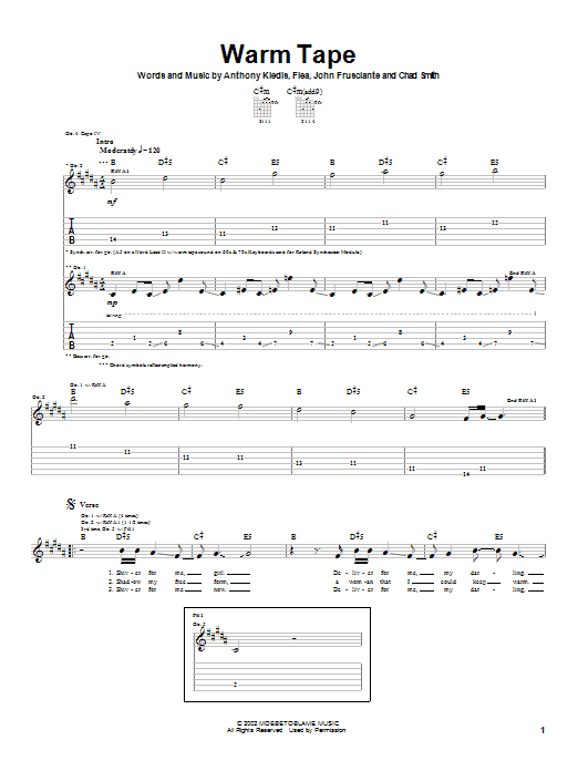Red Hot Chili Peppers Warm Tape sheet music notes and chords
