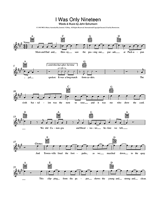 Redgum I Was Only Nineteen sheet music preview music notes and score for Melody Line, Lyrics & Chords including 2 page(s)