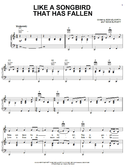 Reeltime Travelers Like A Songbird That Has Fallen sheet music preview music notes and score for Piano, Vocal & Guitar (Right-Hand Melody) including 4 page(s)
