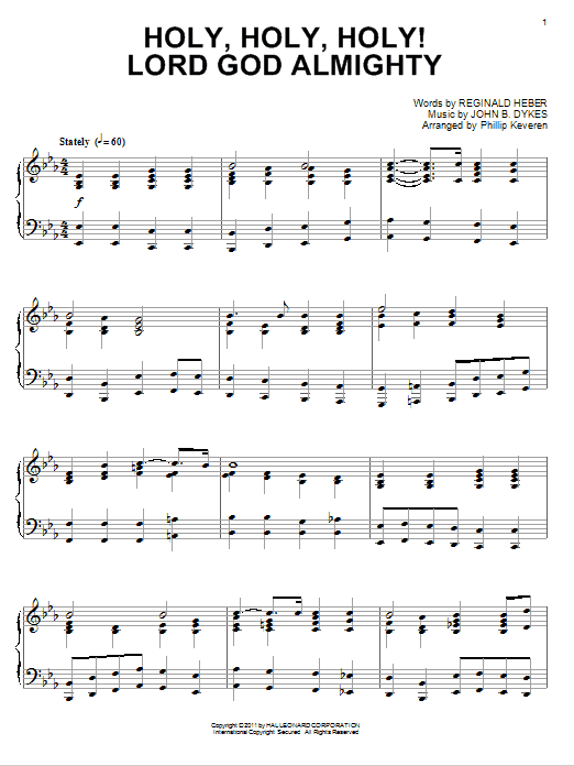 Download Reginald Heber 'Holy, Holy, Holy! Lord God Almighty' Digital Sheet Music Notes & Chords and start playing in minutes
