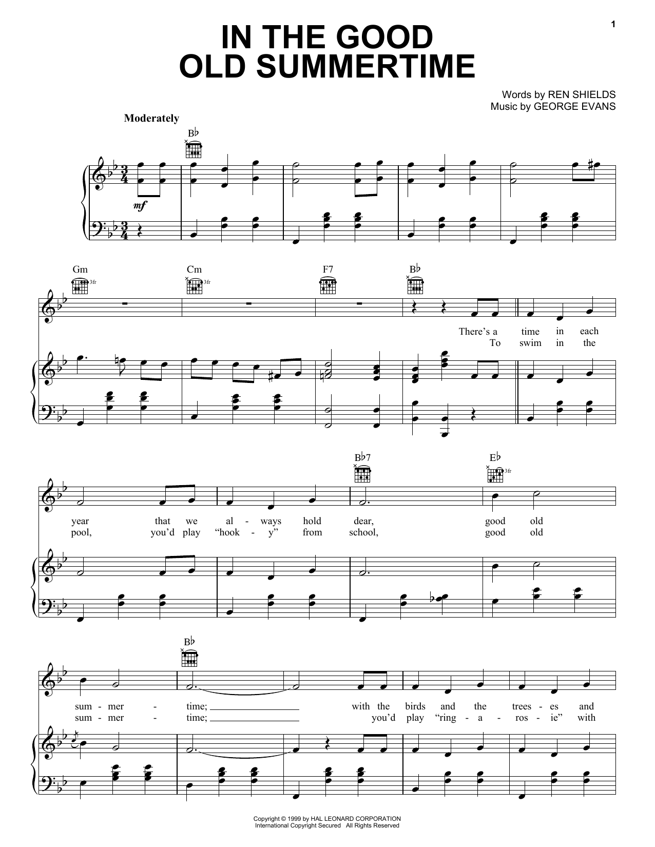 Ren Shields In The Good Old Summertime sheet music preview music notes and score for Piano, Vocal & Guitar (Right-Hand Melody) including 4 page(s)