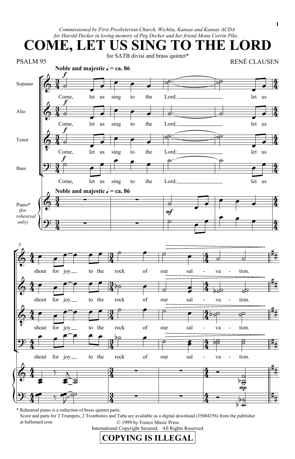 Download Rene Clausen 'Come, Let Us Sing To The Lord' Digital Sheet Music Notes & Chords and start playing in minutes
