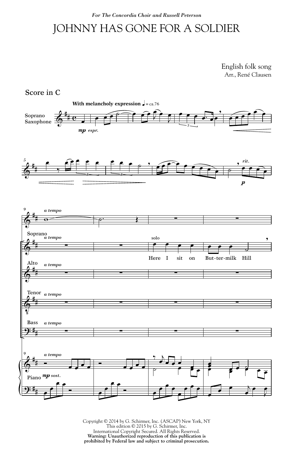 Download Rene Clausen 'Johnny Has Gone For A Soldier' Digital Sheet Music Notes & Chords and start playing in minutes