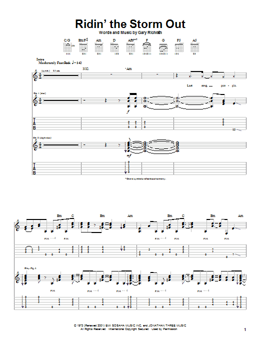 REO Speedwagon Ridin' The Storm Out sheet music preview music notes and score for Lyrics & Chords including 4 page(s)