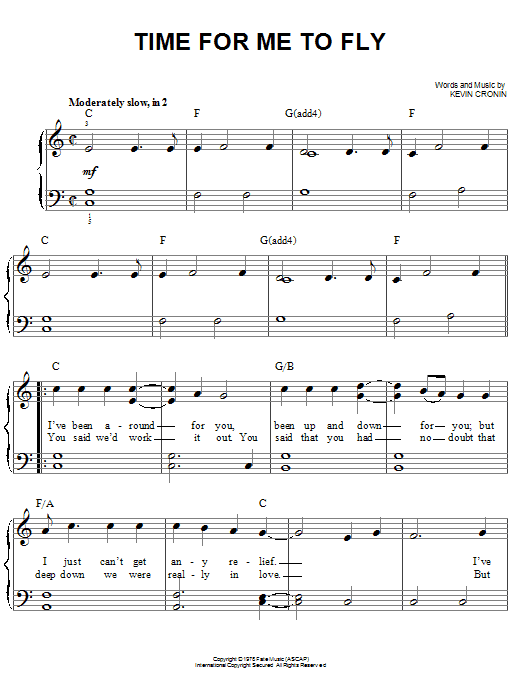 REO Speedwagon Time For Me To Fly sheet music notes and chords