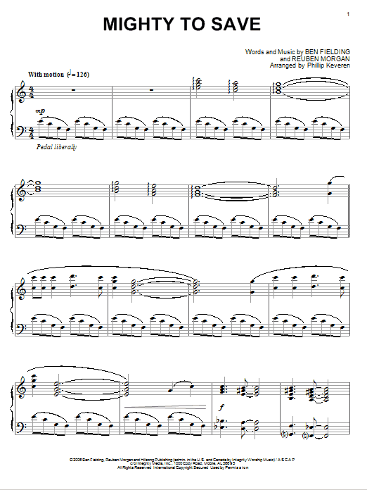 Download Reuben Morgan 'Mighty To Save' Digital Sheet Music Notes & Chords and start playing in minutes