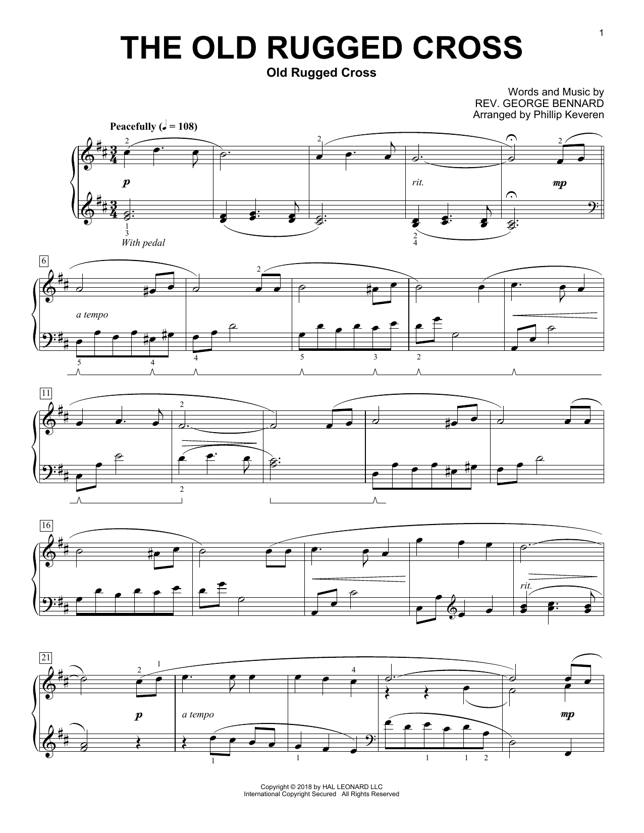 Phillip Keveren The Old Rugged Cross sheet music preview music notes and score for Piano including 3 page(s)