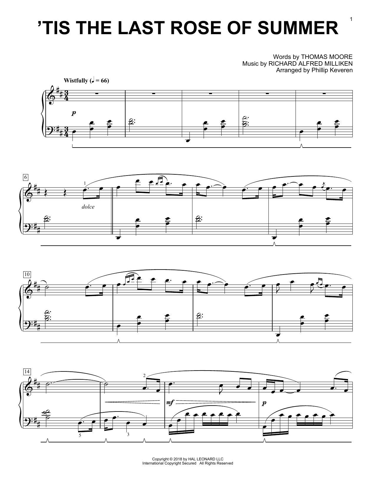 Download Phillip Keveren ''Tis The Last Rose Of Summer' Digital Sheet Music Notes & Chords and start playing in minutes