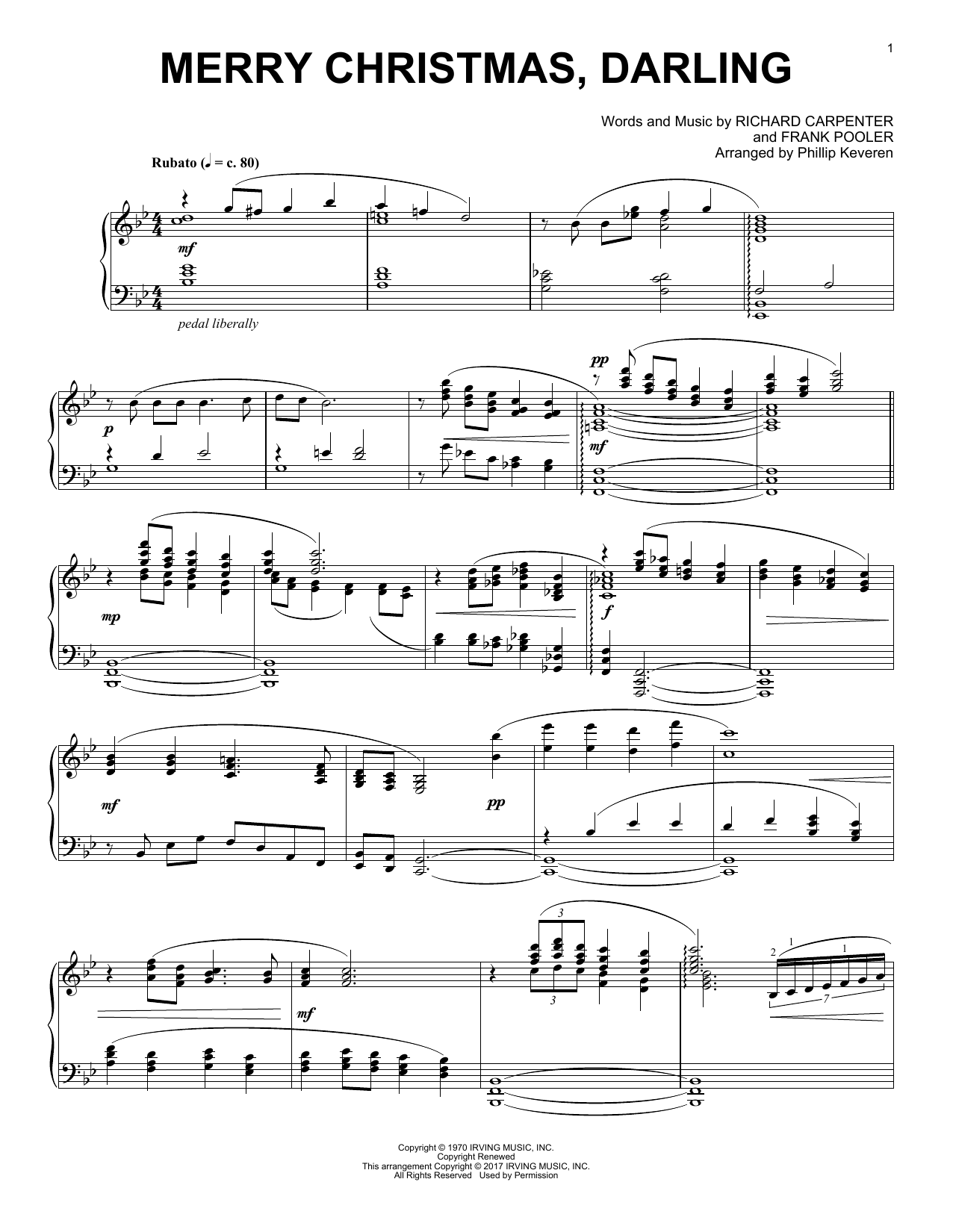 Download Phillip Keveren 'Merry Christmas, Darling' Digital Sheet Music Notes & Chords and start playing in minutes