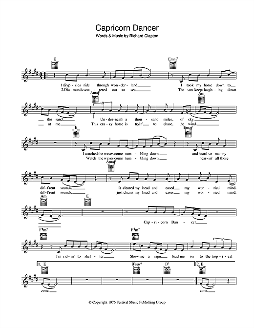 Richard Clapton Capricorn Dancer sheet music preview music notes and score for Melody Line, Lyrics & Chords including 2 page(s)