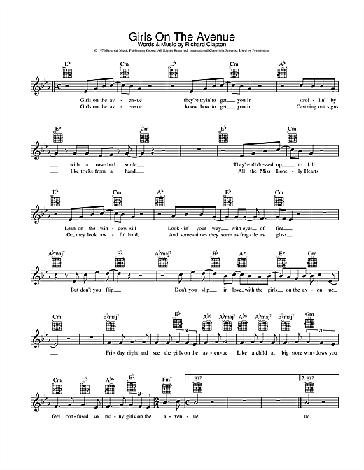 Richard Clapton Girls On The Avenue sheet music preview music notes and score for Melody Line, Lyrics & Chords including 2 page(s)