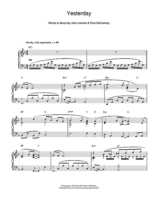Download Richard Clayderman 'Yesterday' Digital Sheet Music Notes & Chords and start playing in minutes