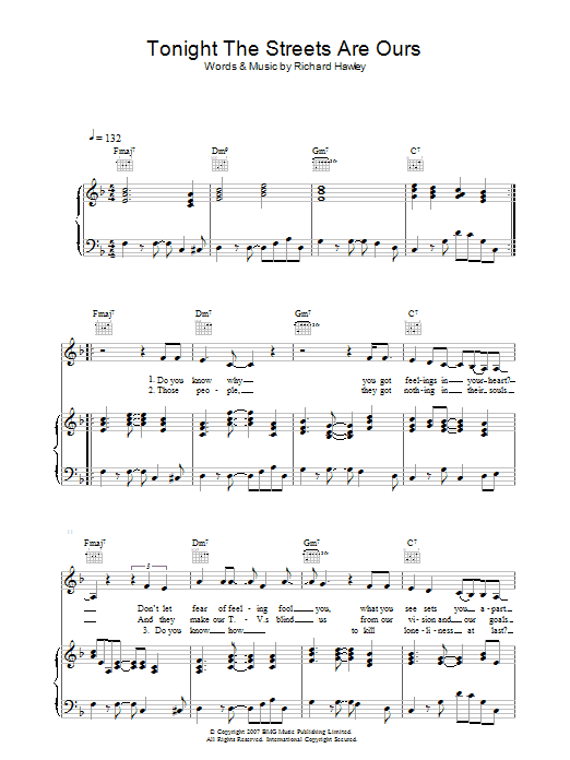Richard Hawley Tonight The Streets Are Ours sheet music preview music notes and score for Piano, Vocal & Guitar including 5 page(s)
