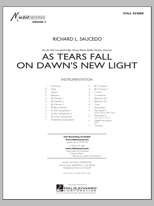 Richard L. Saucedo As Tears Fall on Dawn's New Light - Full Score sheet music notes and chords