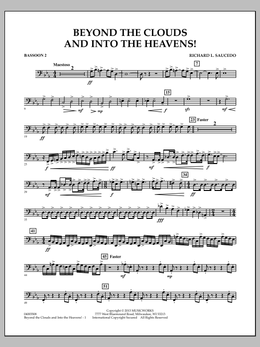 Richard L. Saucedo Beyond the Clouds and Into the Heavens! - Bassoon 2 sheet music notes and chords