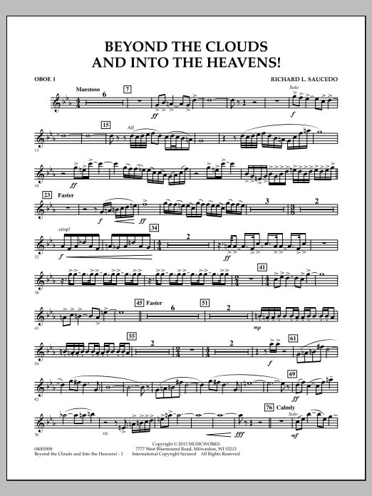 Richard L. Saucedo Beyond the Clouds and Into the Heavens! - Oboe 1 sheet music notes and chords