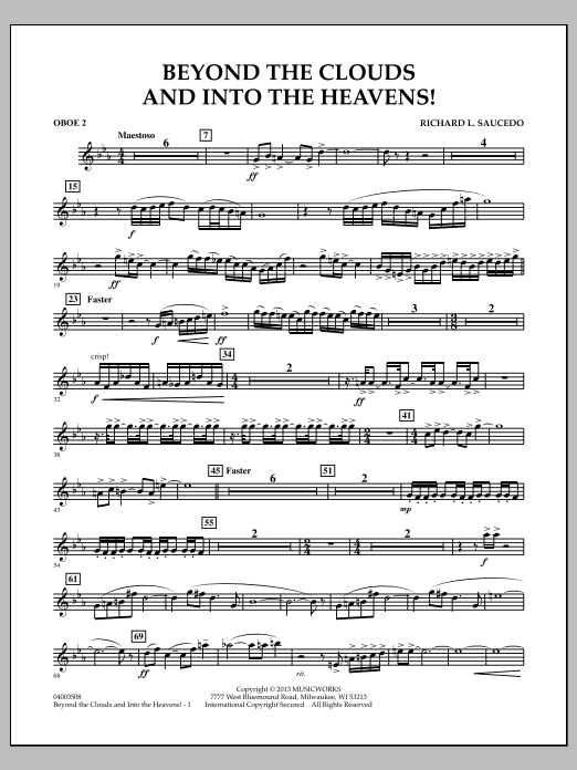 Richard L. Saucedo Beyond the Clouds and Into the Heavens! - Oboe 2 sheet music notes and chords