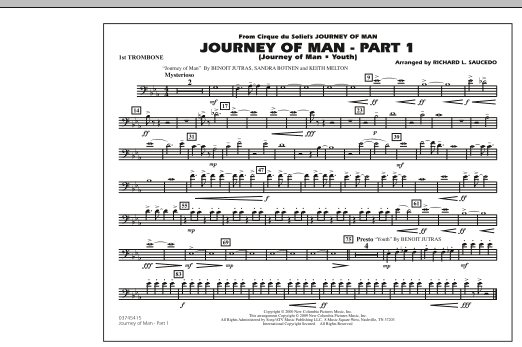 Richard L. Saucedo Journey of Man - Part 1 (Journey of Man: Youth) - 1st Trombone sheet music preview music notes and score for Marching Band including 1 page(s)