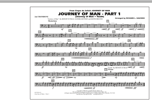 Richard L. Saucedo Journey of Man - Part 1 (Journey of Man: Youth) - 2nd Trombone sheet music preview music notes and score for Marching Band including 1 page(s)