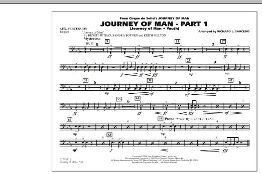 Richard L. Saucedo Journey of Man - Part 1 (Journey of Man: Youth) - Aux Percussion sheet music preview music notes and score for Marching Band including 1 page(s)