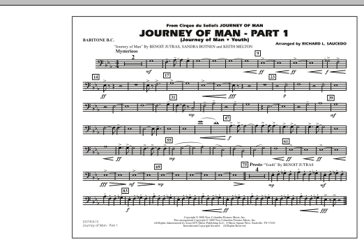 Richard L. Saucedo Journey of Man - Part 1 (Journey of Man: Youth) - Baritone B.C. sheet music preview music notes and score for Marching Band including 1 page(s)