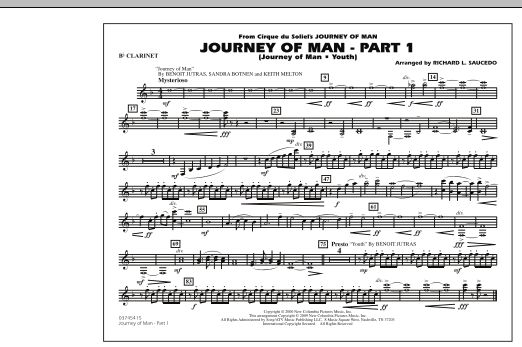 Richard L. Saucedo Journey of Man - Part 1 (Journey of Man: Youth) - Bb Clarinet sheet music preview music notes and score for Marching Band including 1 page(s)