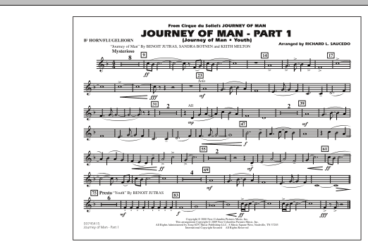 Richard L. Saucedo Journey of Man - Part 1 (Journey of Man: Youth) - Bb Horn/Flugelhorn sheet music preview music notes and score for Marching Band including 1 page(s)