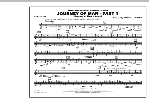 Richard L. Saucedo Journey of Man - Part 1 (Journey of Man: Youth) - Bb Tenor Sax sheet music preview music notes and score for Marching Band including 1 page(s)