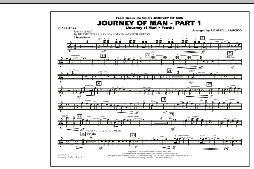 Richard L. Saucedo Journey of Man - Part 1 (Journey of Man: Youth) - Eb Alto Sax sheet music preview music notes and score for Marching Band including 1 page(s)