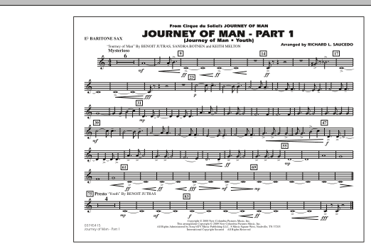 Richard L. Saucedo Journey of Man - Part 1 (Journey of Man: Youth) - Eb Baritone Sax sheet music preview music notes and score for Marching Band including 1 page(s)