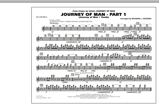 Richard L. Saucedo Journey of Man - Part 1 (Journey of Man: Youth) - Flute/Piccolo sheet music preview music notes and score for Marching Band including 1 page(s)