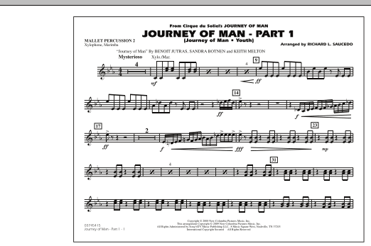 Richard L. Saucedo Journey of Man - Part 1 (Journey of Man: Youth) - Mallet Percussion 2 sheet music preview music notes and score for Marching Band including 1 page(s)