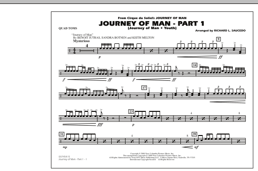 Richard L. Saucedo Journey of Man - Part 1 (Journey of Man: Youth) - Quad Toms sheet music preview music notes and score for Marching Band including 1 page(s)