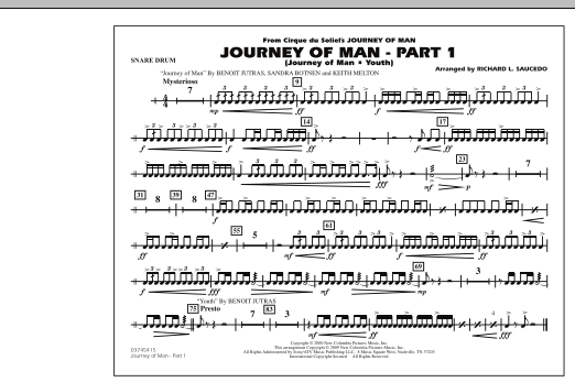 Richard L. Saucedo Journey of Man - Part 1 (Journey of Man: Youth) - Snare Drum sheet music preview music notes and score for Marching Band including 1 page(s)