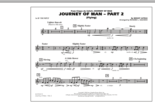 Richard L. Saucedo Journey of Man - Part 2 (Flying) - 1st Bb Trumpet sheet music preview music notes and score for Marching Band including 1 page(s)