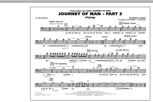 Richard L. Saucedo Journey of Man - Part 2 (Flying) - 1st Trombone sheet music preview music notes and score for Marching Band including 1 page(s)
