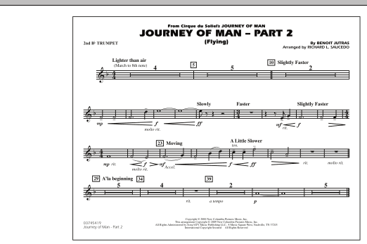 Richard L. Saucedo Journey of Man - Part 2 (Flying) - 2nd Bb Trumpet sheet music preview music notes and score for Marching Band including 1 page(s)