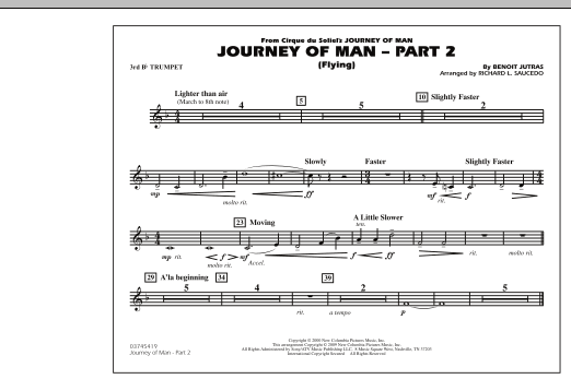 Richard L. Saucedo Journey of Man - Part 2 (Flying) - 3rd Bb Trumpet sheet music preview music notes and score for Marching Band including 1 page(s)