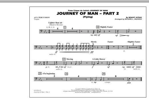 Richard L. Saucedo Journey of Man - Part 2 (Flying) - Aux Percussion sheet music preview music notes and score for Marching Band including 1 page(s)