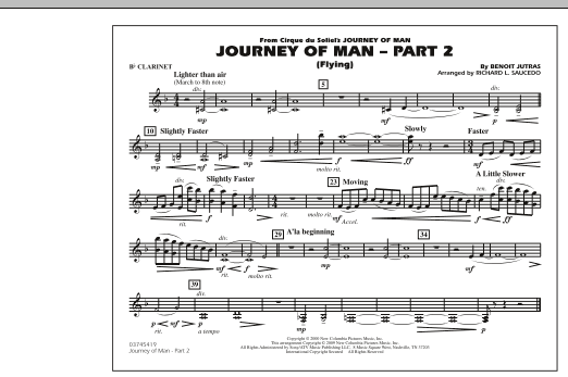 Richard L. Saucedo Journey of Man - Part 2 (Flying) - Bb Clarinet sheet music preview music notes and score for Marching Band including 1 page(s)