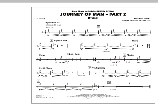 Richard L. Saucedo Journey of Man - Part 2 (Flying) - Cymbals sheet music preview music notes and score for Marching Band including 1 page(s)